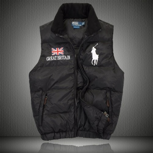Big pony Vest Outlet in Black With great britain Flag