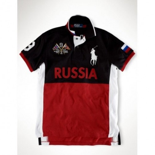 Ralph Lauren Big Pony RUSSIA Signature Red Black Sporty Polo For Men