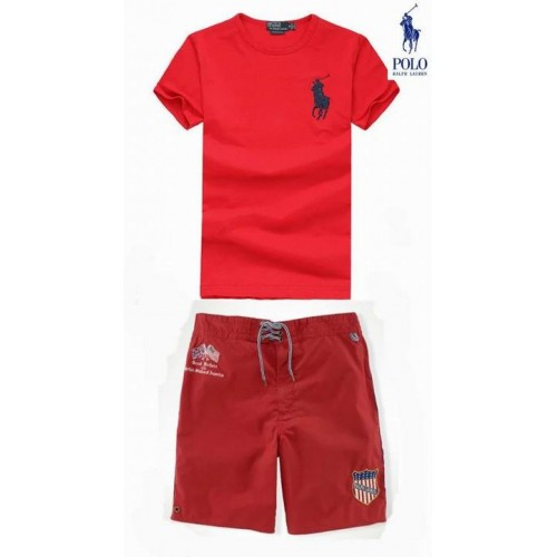 Men's Ralph Lauren Polo Tracksuits Short Sleeved In Red