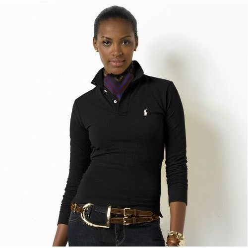 Ralph Lauren small pony long sleeves skinny polo in black