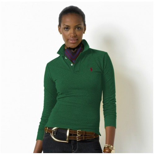 Ralph Lauren small pony long sleeves skinny polo in green